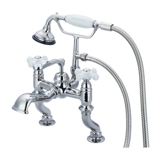 Vintage Classic Adjustable Center Deck Mount Tub Faucet With Handheld Shower, Porcelain Cross Handles & Hot And Cold Labels