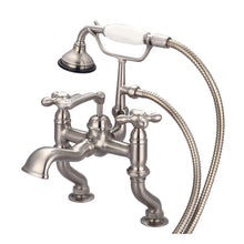 Load image into Gallery viewer, Water Creation Adjustable Center Deck Mount Tub Faucet With Handheld Shower, Metal Cross Handles & Hot And Cold Labels
