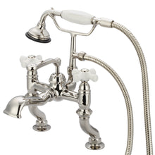 Load image into Gallery viewer, Vintage Classic Adjustable Center Deck Mount Tub Faucet With Handheld Shower, Porcelain Cross Handles & Hot And Cold Labels