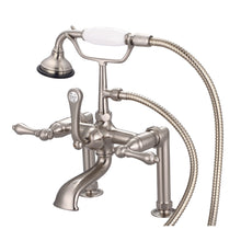 "Load image into Gallery viewer, Water Creation 7"" Spread Deck Mount Tub Faucet, 6"" Risers, Handheld Shower & Metal Lever Handles"