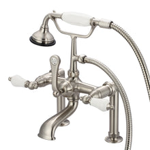 "Load image into Gallery viewer, Vintage Classic 7"" Spread Deck Mount Tub Faucet With 6"" Risers, Handheld Shower & Porcelain Lever Handles"