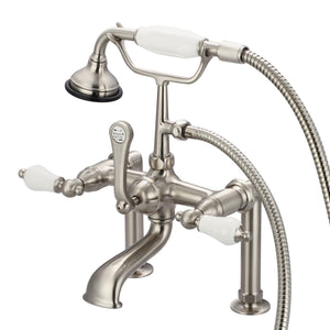 "Vintage Classic 7"" Spread Deck Mount Tub Faucet With 6"" Risers, Handheld Shower & Porcelain Lever Handles"
