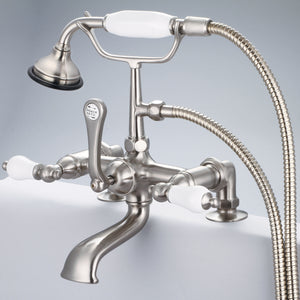 "Water Creation Vintage Classic 7"" Spread Deck Mount Tub Faucet With 2"" Risers, Handheld Shower & Porcelain Lever Handles"