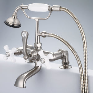 "Vintage Classic 7"" Spread Deck Mount Tub Faucet With 2"" Risers, Handheld Shower, Porcelain Cross Handles & Hot And Cold Labels"
