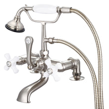 "Load image into Gallery viewer, Vintage Classic 7"" Spread Deck Mount Tub Faucet With 2"" Risers, Handheld Shower, Porcelain Cross Handles & Hot And Cold Labels"