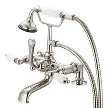 "Load image into Gallery viewer, Water Creation Vintage Classic 7"" Spread Deck Mount Tub Faucet With 2"" Risers, Handheld Shower & Porcelain Lever Handles"