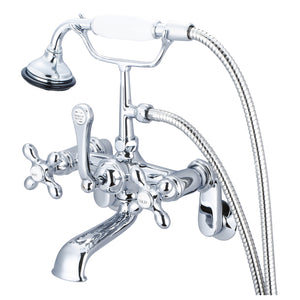 Water Creation Vintage Classic Adjustable Center Wall Mount Tub Faucet With Swivel Wall Connector, Handheld Shower, Metal Cross Handles & Hot And Cold Labels