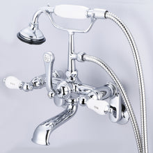 Load image into Gallery viewer, Vintage Classic Adjustable Center Wall Mount Tub Faucet With Swivel Wall Connector, Handheld Shower, Porcelain Lever Handles & Hot And Cold Labels