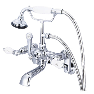 Vintage Classic Adjustable Center Wall Mount Tub Faucet With Swivel Wall Connector, Handheld Shower, Porcelain Lever Handles & Hot And Cold Labels