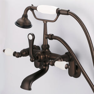Vintage Classic Adjustable Center Wall Mount Tub Faucet With Swivel Wall Connector, Handheld Shower & Porcelain Lever Handles