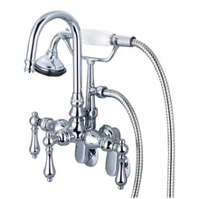 Load image into Gallery viewer, Water Creation Vintage Classic Adjustable Spread Wall Mount Tub Faucet With Gooseneck Spout, Swivel Wall Connector, Handheld Shower & Metal Lever Handles
