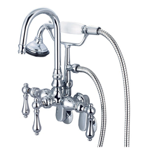 Water Creation Vintage Classic Adjustable Spread Wall Mount Tub Faucet With Gooseneck Spout, Swivel Wall Connector, Handheld Shower & Metal Lever Handles