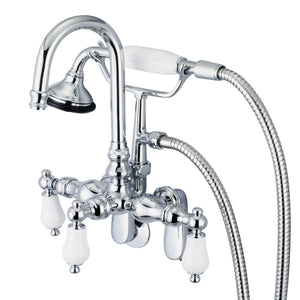 Vintage Classic Adjustable Spread Wall Mount Tub Faucet With Gooseneck Spout, Swivel Wall Connector, Handheld Shower & Porcelain Lever Handles