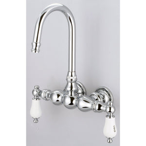 "Water Creation Vintage Classic 3 3/8"" Center Wall Mount Tub Faucet w/ Gooseneck Spout, Straight Wall Connector, Porcelain Lever Handles & Hot and Cold Labels"