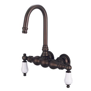 "Water Creation Vintage Classic 3 3/8"" Center Wall Mount Tub Faucet With Gooseneck Spout, Straight Wall Connector & Porcelain Lever Handles"