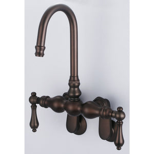 Vintage Classic Adjustable Spread Wall Mount Tub Faucet With Gooseneck Spout, Porcelain Lever Handles & Hot and Cold Labels
