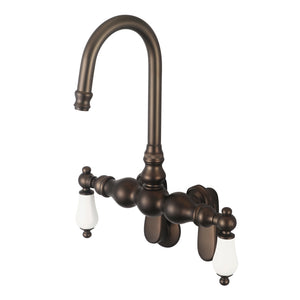 Water Creation Vintage Classic Adjustable Spread Wall Mount Tub Faucet With Gooseneck Spout & Porcelain Lever Handles
