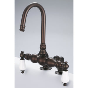 "Water Creation Vintage Classic 3 3/8"" Center Deck Mount Tub Faucet With Gooseneck Spout & 2"" Risers With Porcelain Lever Handles"