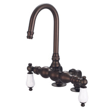 "Load image into Gallery viewer, Water Creation Vintage Classic 3 3/8"" Center Deck Mount Tub Faucet With Gooseneck Spout & 2"" Risers With Porcelain Lever Handles"