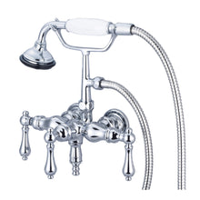 "Load image into Gallery viewer, Vintage Classic 3 3/8"" Center Wall Mount Tub Faucet With Down Spout, Straight Wall Connector, Handheld Shower & Metal Lever Handles"