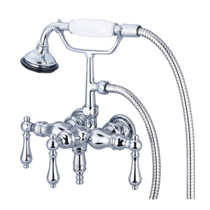 "Vintage Classic 3 3/8"" Center Wall Mount Tub Faucet With Down Spout, Straight Wall Connector, Handheld Shower & Metal Lever Handles"