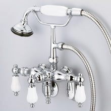 Load image into Gallery viewer, Vintage Classic Adjustable Center Wall Mount Tub Faucet With Down Spout, Handheld Shower & Porcelain Lever Handles