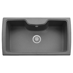"LaToscana Plados 35"" x 20"" Single Basin Granite Drop-In Sink in a Titanium, Black Metallic, Milk White and Brown Finish"