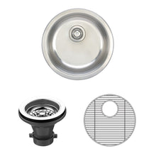 "Load image into Gallery viewer, Wells Sinkware 19"" Round 18-gauge Undermount Single Bowl Stainless Steel Kitchen/ Bar Sink with Grid Rack and Strainer JZU1919-8-1"