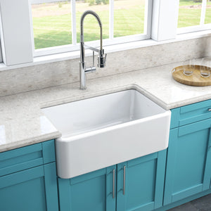 "LaToscana 30"" White Apron Front Reversible Fireclay Kitchen Sink LFS3018W"