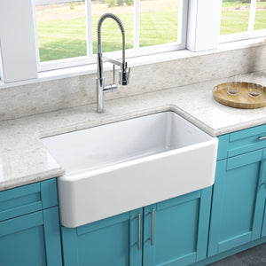 "LaToscana 33"" White Apron Front Reversible Fireclay Kitchen Sink LFS3318W"
