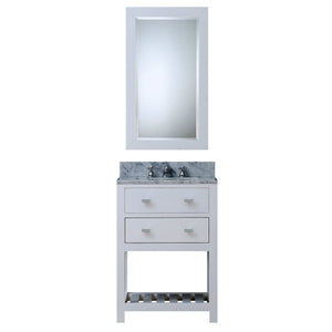 "Water Creation 24"" Pure White Single Sink Bathroom Vanity with Matching Framed Mirror and Faucet From The Madalyn Collection MADALYN24WBF"