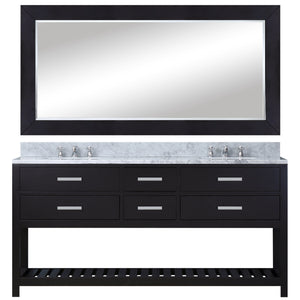"Water Creation 60"" Espresso Double Sink Bathroom Vanity with Matching Framed Mirror and Faucet From The Madalyn Collection MADALYN60EBF"