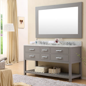 "Water Creation 60"" Cashmere Grey Double Sink Bathroom Vanity with 2 Matching Framed Mirrors From The Madalyn Collection MADALYN60GC"