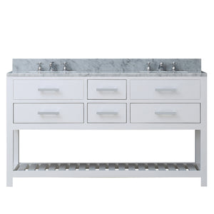 "Water Creation 60"" Pure White Double Sink Bathroom Vanity From The Madalyn Collection MADALYN60W"
