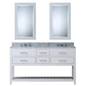 "Water Creation 60"" Pure White Double Sink Bathroom Vanity with 2 Matching Framed Mirrors and Faucets From The Madalyn Collection MADALYN60WCF"