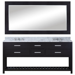 "Water Creation 72"" Espresso Double Sink Bathroom Vanity with Matching Large Framed Mirror From The Madalyn Collection MADALYN72EB"