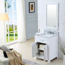 "Load image into Gallery viewer, Water Creation 24"" Pure White Single Sink Bathroom Vanity with Matching Framed Mirror and Faucet From The Madison Collection MADISON24WBF"