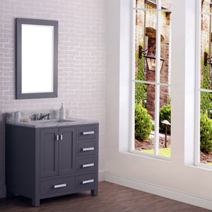 "Water Creation 36"" Wide Cashmere Grey Single Sink Bathroom Vanity with Matching Mirror From The Madison Collection MADISON36GB"