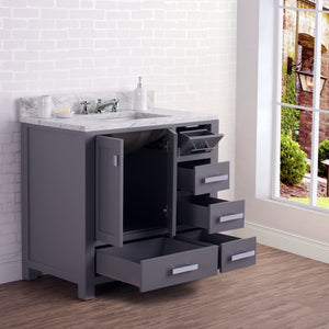 "Water Creation 36"" Wide Cashmere Grey Single Sink Bathroom Vanity From The Madison Collection MADISON36G"