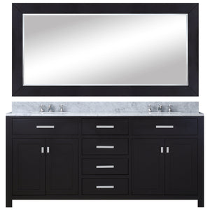 "Water Creation 60"" Espresso Double Sink Bathroom Vanity with Matching Framed Mirror and Faucet From The Madison Collection MADISON60EBF"