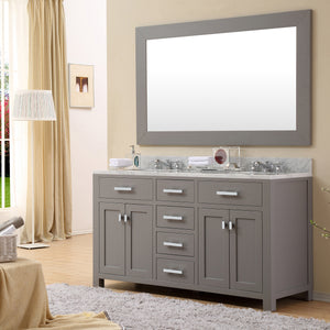 "Water Creation 60"" Cashmere Grey Double Sink Bathroom Vanity with 2 Matching Framed Mirrors From The Madison Collection MADISON60GC"