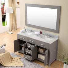 "Load image into Gallery viewer, Water Creation 60"" Cashmere Grey Double Sink Bathroom Vanity with 2 Matching Framed Mirrors From The Madison Collection MADISON60GC"