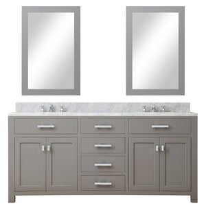 "Water Creation 72"" Cashmere Grey Double Sink Bathroom Vanity with 2 Matching Framed Mirrors From The Madison Collection MADISON72GC"