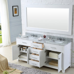"Water Creation 72"" Pure White Double Sink Bathroom Vanity From The Madison Collection MADISON72W"