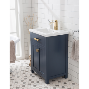 "Water Creation 24"" Monarch Blue MDF Single Bowl Ceramics Top Vanity with Double Door From The MYRA Collection MYRA24MB"