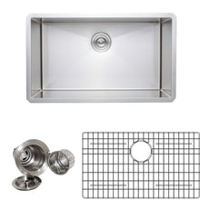 "Load image into Gallery viewer, Wells Sinkware Handcrafted 30"" 16-gauge Undermount Single Bowl Stainless Steel Kitchen Sink with Grid Rack and Basket Strainer NCU3018-10-1"