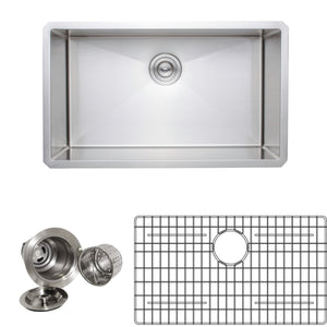 "Wells Sinkware Handcrafted 30"" 16-gauge Undermount Single Bowl Stainless Steel Kitchen Sink with Grid Rack and Basket Strainer NCU3018-10-1"