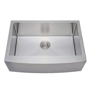 "Wells Sinkware Handcrafted 30"" x 21"" 16-gauge Arched Apron Front Farmhouse Single Bowl Stainless Steel Kitchen Sink with Grid Rack and Basket Strainer NCU3021-10-AAP-1"