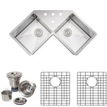 "Load image into Gallery viewer, Wells Sinkware Handcrafted 46"" 16-gauge Undermount Butterfly Equal Double Bowl Stainless Steel Corner Kitchen Sink with Grid Racks and Basket Strainers"