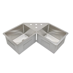 "Wells Sinkware Handcrafted 46"" 16-gauge Undermount Butterfly Equal Double Bowl Stainless Steel Corner Kitchen Sink with Grid Racks and Basket Strainers"
